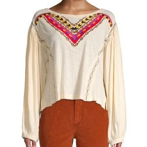 NWT FREE PEOPLE HAND ME DOWN EMBROIDERED IN IVORY